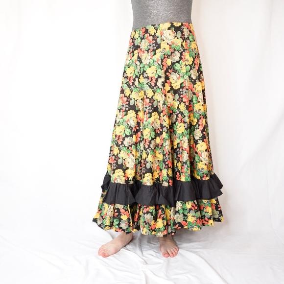 Vintage Dresses & Skirts - Vintage Flare Floral Maxi Skirt Hand Sewn Ruffle